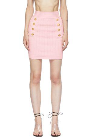 Balmain Pink Double-Buttoned Miniskirt