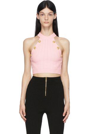 Balmain Pink Rib Knit Button Halter Tank Top