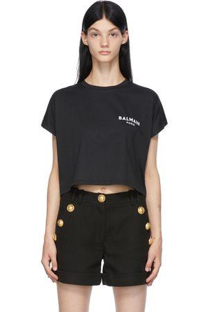 Balmain Black Cropped Logo T-Shirt