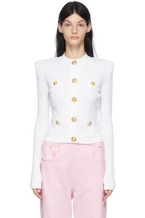 Balmain Women Cardigans - White Rib Knit Buttoned Cardigan