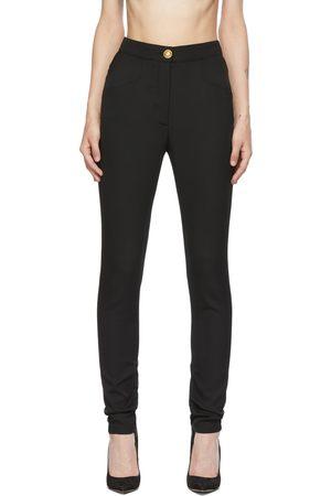 Balmain Black Wool Skinny-Fit Trousers