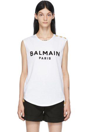 Balmain White Button Flocked Logo Tank Top