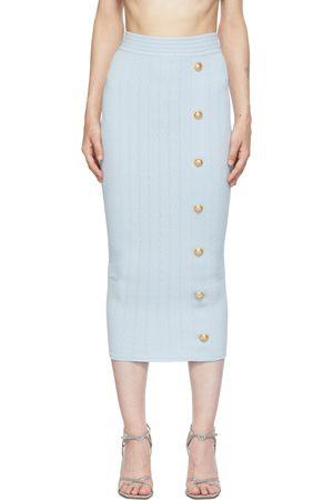 Balmain Blue Rib Knit Button Mid-Length Skirt
