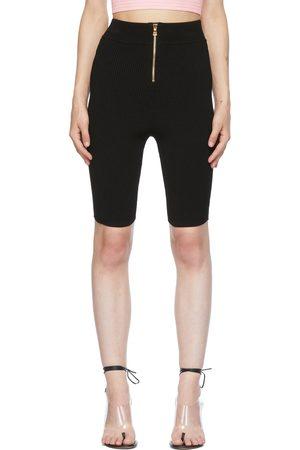 Balmain Black Rib Knit Cycling Shorts