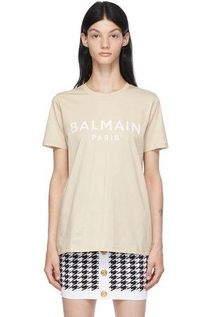 Balmain Women T-shirts - Beige Printed Logo T-Shirt