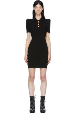 Balmain Black Knit Collar Polo Dress