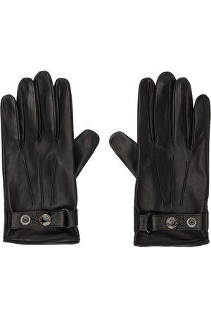 Alexander McQueen Men Gloves - Black & Gold Leather New Biker Gloves