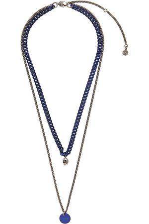 Alexander McQueen Men Necklaces - Silver & Blue Chain Necklace