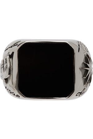 Alexander McQueen Silver & Black Stone Signet Ring