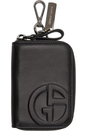 Armani Men Wallets - Black Zipped Logo Card Holder