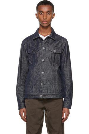 Armani Men Denim Jackets - Navy Cotton-Denim Blouson Jacket