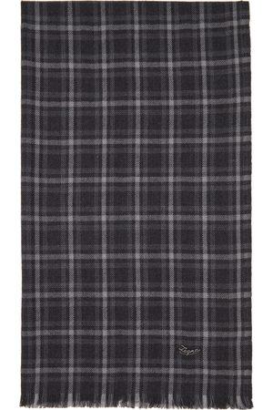 Ermenegildo Zegna Grey Wool Check Scarf