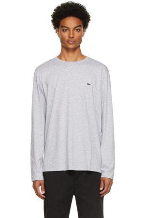 Lacoste Men Long Sleeve - Grey Pima Cotton Long Sleeve T-Shirt