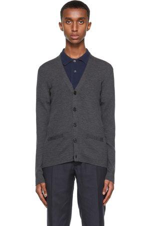 Ralph Lauren Purple Label Men Cardigans - Grey Merino Wool Rib Knit Slim Cardigan