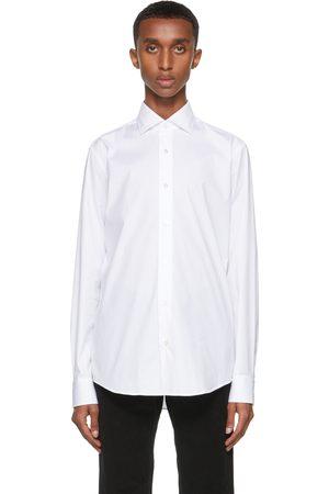 Z Zegna Men Shirts - White Stretch Poplin Shirt