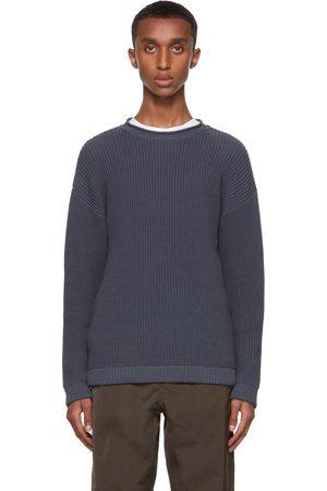 Giorgio Armani Men Sweatshirts - Blue Cotton Rib Half Fisherman's Sweater