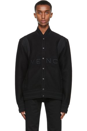 Givenchy Men Bomber Jackets - Black Wool Bomber Jacket