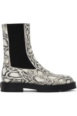 Givenchy White & Black Python Squared Chelsea Boots