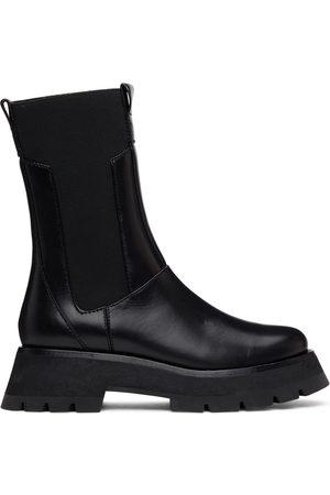 3.1 Phillip Lim Black Lug Sole Kate Mid-Calf Chelsea Boots
