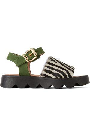 Marni Sandals - Kids Black & White Zebra Fringe Sandals