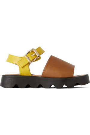 Marni Sandals - Kids Brown & Yellow Leather Strap Sandals