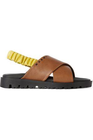 Marni Kids Brown & Yellow Slingback Sandals