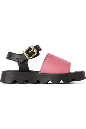 Marni Kids Pink Leather Strap Sandals