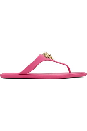 VERSACE Pink & Gold Medusa Flip Flops