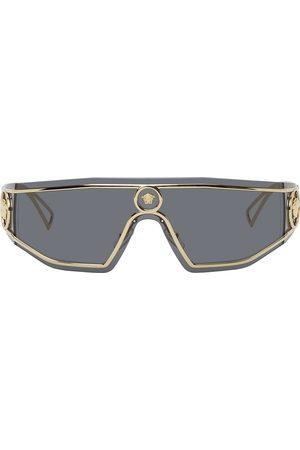 Versace Men Sunglasses - Gold & Grey Shield Medusa Sunglasses