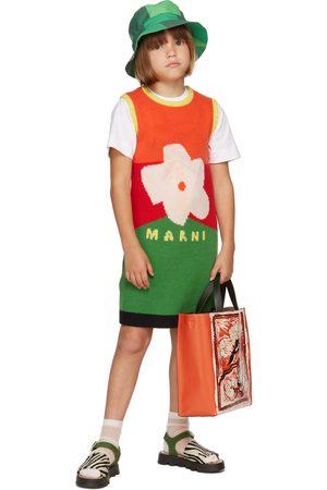 Marni Kids Multicolor Wool Knit Flower Dress