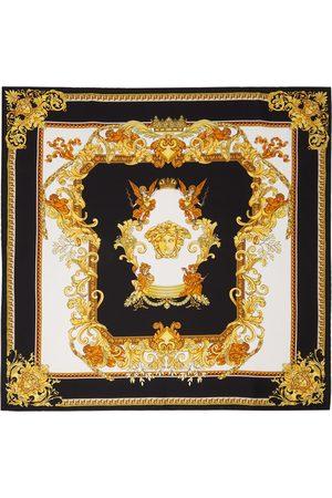 VERSACE Women Scarves - Black & Gold Renaissance Print Scarf