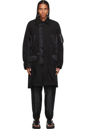 Sacai Men Coats - Black Satin & Poplin Military Coat