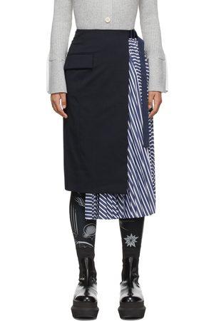 SACAI Women Pleated Skirts - Navy Stripe Pleated Suiting Skirt
