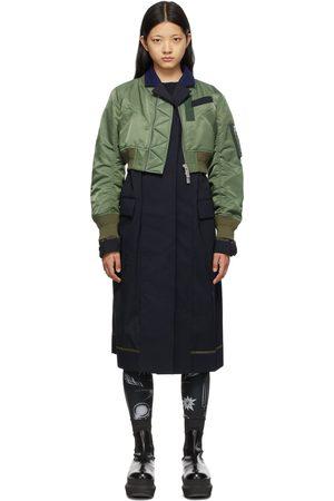 SACAI Women Bomber Jackets - Navy & Khaki Bomber Jacket Suit Coat
