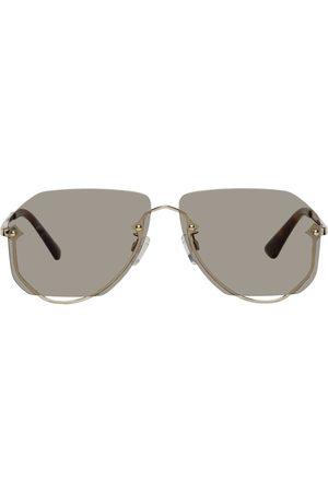 McQ Gold Rimless Aviator Sunglasses