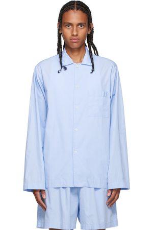 Tekla Blue Poplin Pyjama Shirt