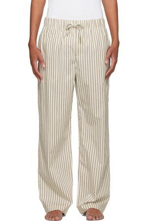 Tekla White & Brown Poplin Striped Pyjama Pants