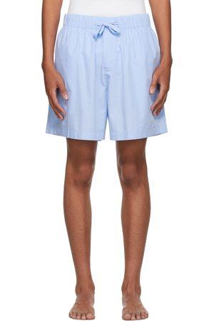 Tekla Blue Poplin Pyjama Shorts