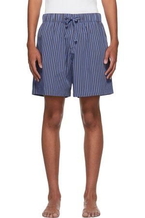 Tekla Blue & Brown Poplin Striped Pyjama Shorts