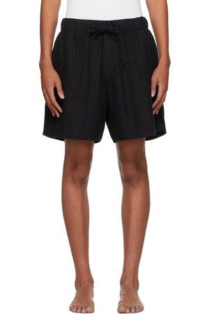 Tekla Black Flannel Pyjama Shorts
