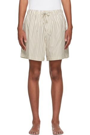 Tekla White & Brown Poplin Striped Pyjama Shorts