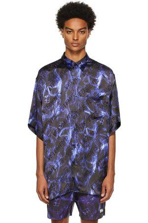VETEMENTS Blue & Black Skulls Fluid Short Sleeve Shirt
