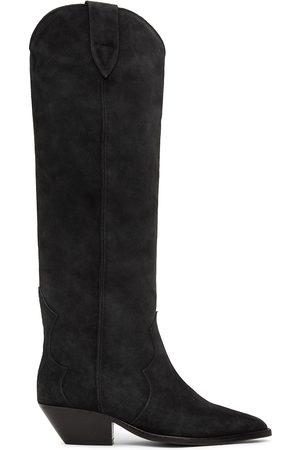 Isabel Marant Women Thigh High Boots - Black Suede Denvee Tall Boots