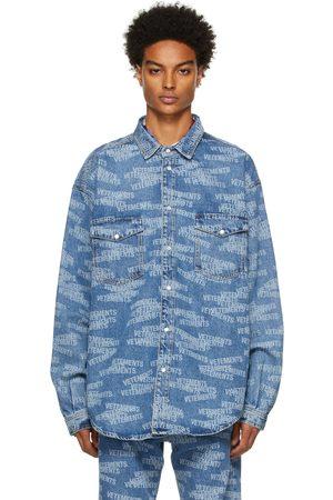 VETEMENTS Men Denim Jackets - Blue Denim Logo Jacket
