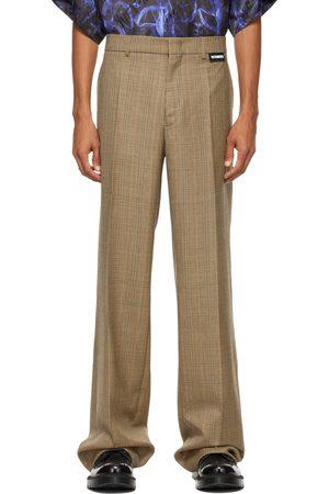 VETEMENTS Men Wide Leg Pants - Brown Wide-Leg Houndstooth Trousers
