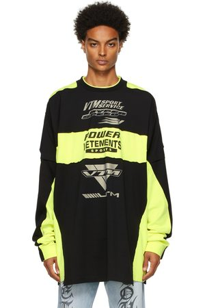 Vetements Yellow & Black Motocross Patched Logo Long Sleeve T-Shirt