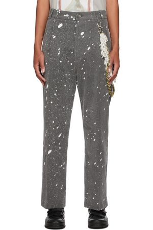 SONG FOR THE MUTE Grey Denim Loose Pleated Trousers