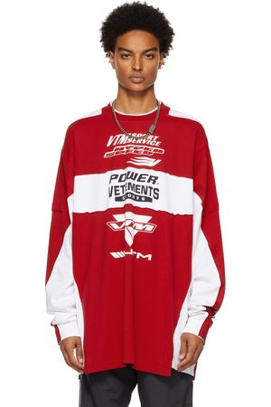 VETEMENTS Red & White Motocross Patched Logo Long Sleeve T-Shirt