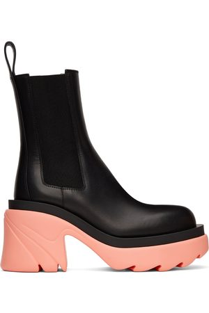 Bottega Veneta Black & Pink Flash Chelsea Boots