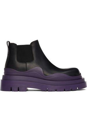 Bottega Veneta Black & Purple Low 'The Tire' Chelsea Boots
